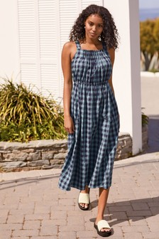 Check Pleated Dress