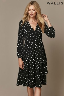 Wallis Black Mono Spot Fit & Flare Dress