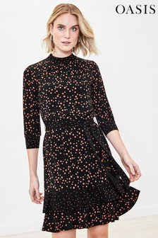 Oasis Black Patch Spot Print Dress