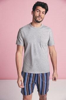 Krótka pidżama dżersejowa w paski