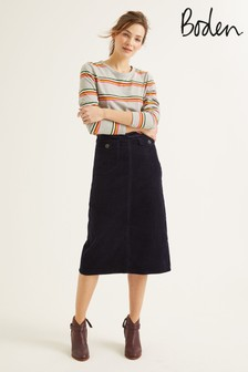 Boden Navy Natalie Midi Skirt