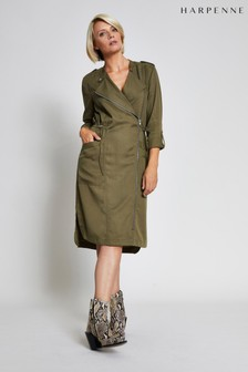 Harpenne Khaki Military Style Midi Dress