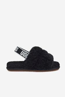 UGG Baby Girls Black Fluff Yeah Sandals