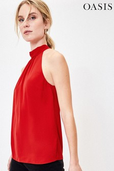 Oasis Red Halter Neck Top