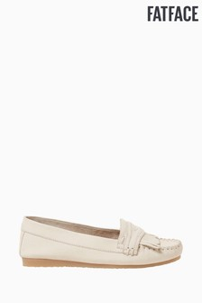 FatFace White Forest Fringe Detail Moccasins