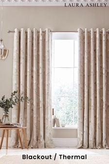 Natural Magnolia Grove Eyelet Curtains