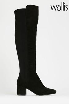 Wallis Black Elastic Pull-On Boots