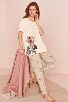 Baumwoll-Pyjama mit Zebramuster