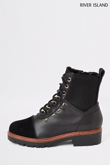River Island Black Timmy Flat Lace-Up Hiker Boots
