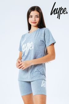 Hype. Grey Script Kids T-Shirt and Cycle Short Set