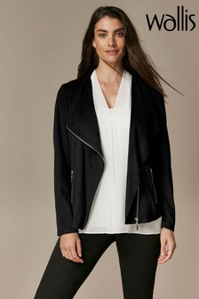 Wallis Black Faux Suede Waterfall Jacket