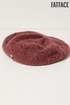 FatFace Purple Pointelle Knit Beret