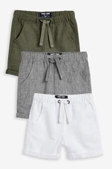 3 Pack Linen Blend Shorts (3mths-7yrs)