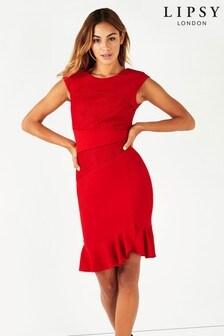Облегающее платье с кружевной вставкой Lipsy