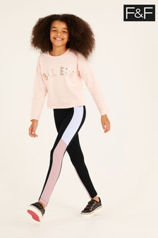 F&F Black Sporty Panel Ponte Leggings