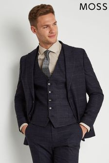Moss London Skinny/Slim Fit Navy Check Jacket
