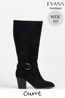 Evans Curve Wide Fit Black High Heeled Boots