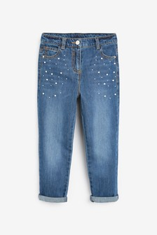 Pearl Embellished Mom Jeans (3-16yrs)