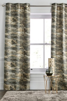Metallic Stormy Jacquard Eyelet Curtains