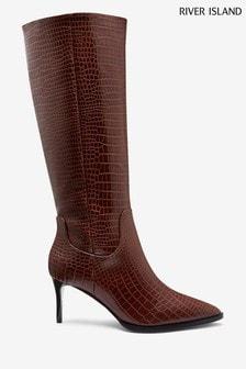 River Island Brown Taxi Platform Snake Skinny Heel Boots