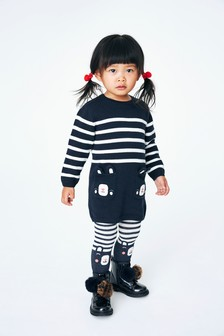 Stripe Bear Pocket Dress With Tights (3mths-7yrs)