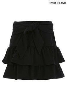 River Island Black Tie Belt Rara Skirt