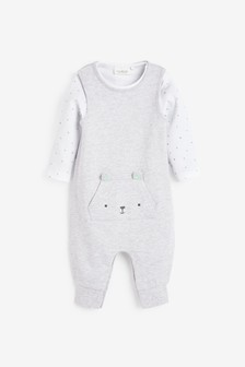Organic Cotton Dungarees/Bodysuit Set (0-12mths)