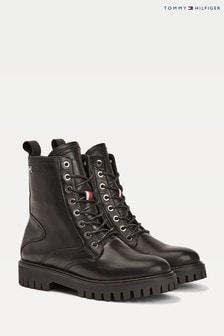 Tommy Hilfiger Black Shaded Leather Biker Boots