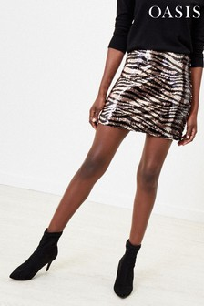 Oasis Brown Tiger Sequin Mini Skirt