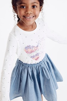 Sequin Heart Long Sleeve Dress (3-12yrs)