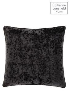 Catherine Lansfield Black Crushed Velvet Cushion