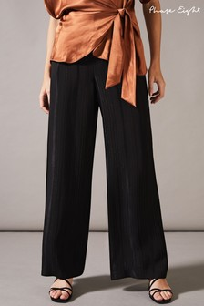 Phase Eight Black Clea Satin Pinstripe Wide Leg Trousers