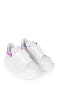 Kids White/Pink Leather Trainers