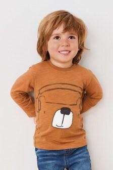 Long Sleeve Faux Fur Bear T-Shirt (3mths-7yrs)