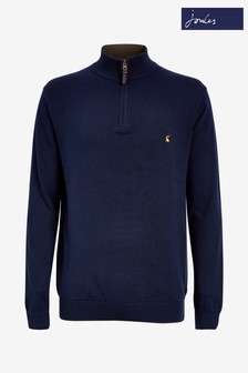 Joules Blue Hillside 1/4 Zip Funnel Neck Jumper