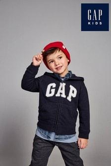 Granatowa bluza z kapturem i logo Gap