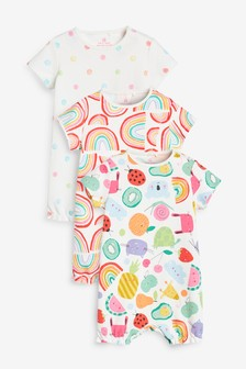 3 Pack Rainbow Character Rompers (0mths-3yrs)