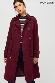 Monsoon Purple Cora Cord Trench Coat