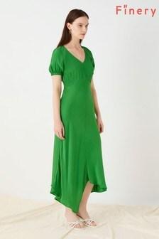 Finery London Green Harley Asymmetric Dress