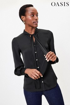 Oasis Black Britex Pussybow Blouse