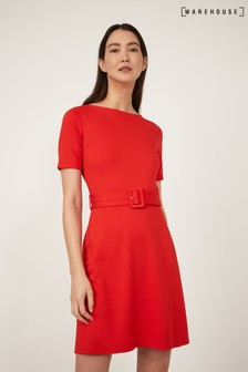 Warehouse Red Belted Ponte Mini Dress