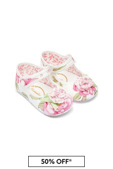 Monnalisa Baby Girls Cream Cotton Prewalker Shoes