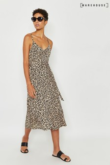 Warehouse Animal Tiered Midi Cami Dress