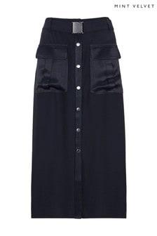 Mint Velvet Satin Patch Pocket Midi Skirt