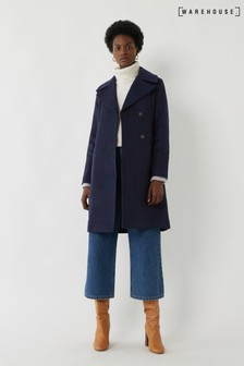 Warehouse Blue Long Double Breasted Pea Coat