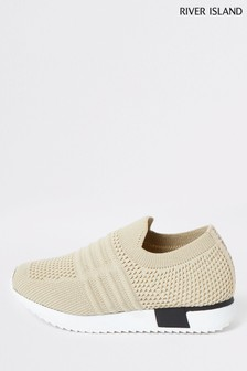 River Island Cream Branded Knitted Runner Trainers