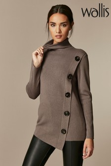Wallis Mocha Button Wrap Jumper