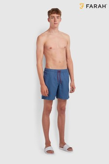 Farah Colbert Swim Shorts With Contrast Drawstring And Golden F Logo Embroidery At Hem