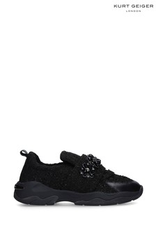 Kurt Geiger Ladies Lara Black Fabric Trainers