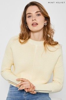 Mint Velvet Yellow Stitch Boxy Jumper